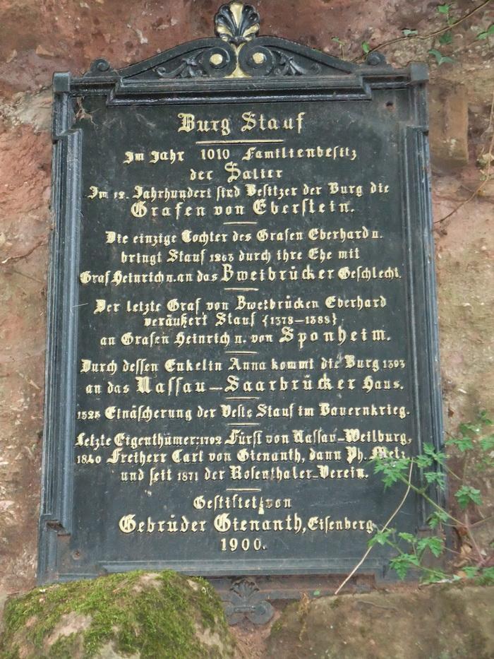 Inschrift Burg Stauf