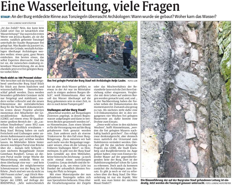 STAUF: An der Burg entdeckte Rinne aus Tonziegeln überrascht Archäologen: Wann wurde sie gebaut? Woher kam das Wasser?