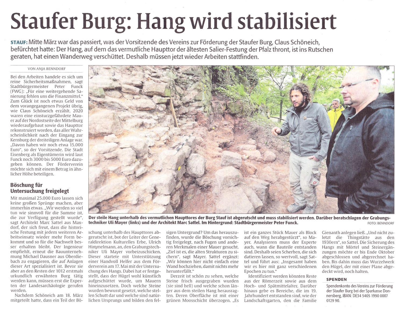 Staufer Burg: Hang wird stabilisiert